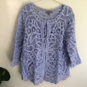 Jessica London lavender crochet lace cardigan